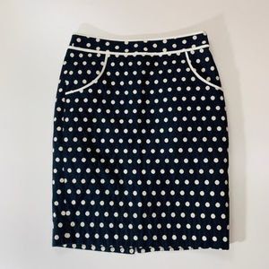 Limited Navy Blue Pencil Skirt White Polka Dots 0